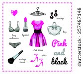 pink dress fashion outfit... | Shutterstock . vector #357487148