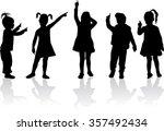 children silhouettes. | Shutterstock .eps vector #357492434