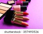 cosmetics set on purple... | Shutterstock . vector #357493526