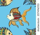 seamless zentangle fish... | Shutterstock .eps vector #357496553