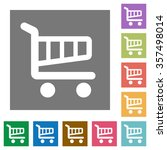 shopping cart flat icon set on...