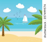 vector tropical landscape. sea... | Shutterstock .eps vector #357499574