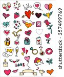 sketchy love and hearts doodles ... | Shutterstock .eps vector #357499769