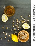 cup of chamomile tea with dried ...   Shutterstock . vector #357509630