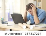 sad freelance male worried... | Shutterstock . vector #357517214