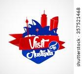 visit to australia  red strip... | Shutterstock .eps vector #357521468