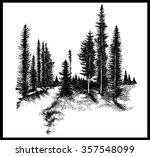 mountain forest pine trees... | Shutterstock .eps vector #357548099