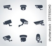 vector black security camera... | Shutterstock .eps vector #357550340