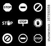 vector black stop icon set. | Shutterstock .eps vector #357550358