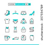 Stock vector clothing plain and line icons set flat design vector illustration 357554789