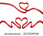 simple red ribbon  hearth shape ... | Shutterstock .eps vector #357559958
