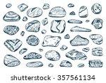 Sea Stones Set. Hand Drawn...