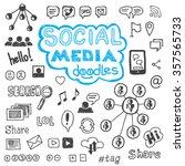 set of hand drawn social media... | Shutterstock .eps vector #357565733