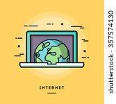 internet  flat design thin line ... | Shutterstock .eps vector #357574130