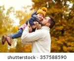 dad and little daughter having... | Shutterstock . vector #357588590