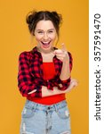 happy cheerful young woman in... | Shutterstock . vector #357591470
