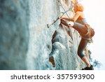 adult female rock climber on... | Shutterstock . vector #357593900