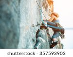 Adult Female Rock Climber On...