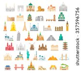 flat design famous landmark set ... | Shutterstock .eps vector #357596756