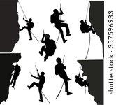 rock climbers silhouette... | Shutterstock .eps vector #357596933