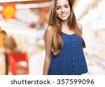 young woman smiling over white... | Shutterstock . vector #357599096