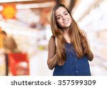 young cute woman smiling on a... | Shutterstock . vector #357599309