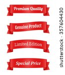 set of red ribbon banners for... | Shutterstock . vector #357604430