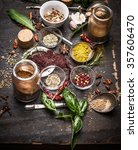 herbs and spices selection on... | Shutterstock . vector #357606470