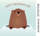 happy groundhog day design with ... | Shutterstock .eps vector #357637568