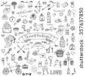 hand drawn doodle love and... | Shutterstock .eps vector #357637850