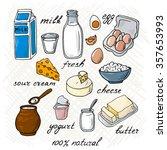 vector dairy products  milk ... | Shutterstock .eps vector #357653993