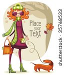 Whimsical Shopping Girl With...