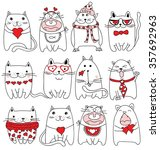 vector valentine cats with... | Shutterstock .eps vector #357692963