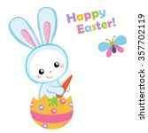 happy easter. cute easter bunny ... | Shutterstock .eps vector #357702119