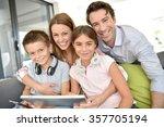 portrait of happy family... | Shutterstock . vector #357705194