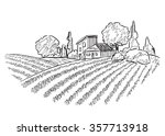 landscape with fields  | Shutterstock .eps vector #357713918