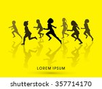 silhouette  children running... | Shutterstock .eps vector #357714170