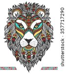 ethnic lion. a tattoo of a lion ... | Shutterstock .eps vector #357717290