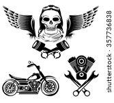 bikers theme labels with... | Shutterstock .eps vector #357736838