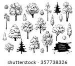 big set of hand drawn tree... | Shutterstock .eps vector #357738326