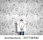 man demonstrating banner with... | Shutterstock . vector #357738980