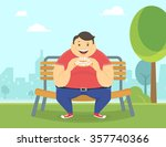 happy fat man eating a big... | Shutterstock .eps vector #357740366