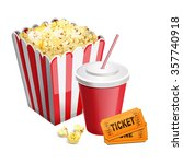 popcorn with soda and tickets... | Shutterstock .eps vector #357740918