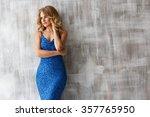 ladylike woman in the blue... | Shutterstock . vector #357765950