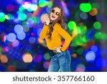 happy young woman or teen girl...   Shutterstock . vector #357766160