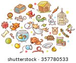 set of colorful cartoon pet... | Shutterstock .eps vector #357780533