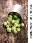 fresh brussels sprouts over... | Shutterstock . vector #357788558