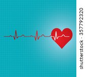 red heart with ekg   medical... | Shutterstock .eps vector #357792320