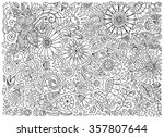 floral doodle pattern with... | Shutterstock .eps vector #357807644