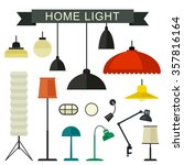 Home Light With Lamps Icons In...